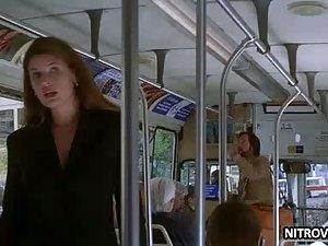 Stefanie Von Pfetten Flashes Her Big Round Jugs On a Bus - Movie Scene
