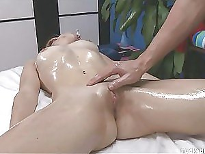 Gorgeous Blonde Babe Gets Covered in Body Oil and Her Clit Massaged