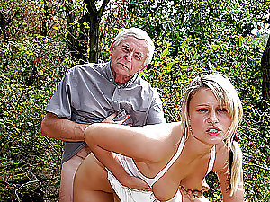 Old Man and Mature Woman Have a Hot Threesome With a Gorgeous Blonde Babe